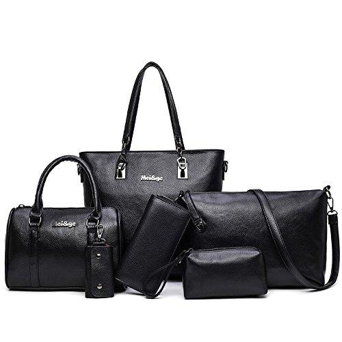 9c5cd8876f H X Womens 6 Pcs Shoulder Bags Top-Handle Handbag Tote Purse Set ...