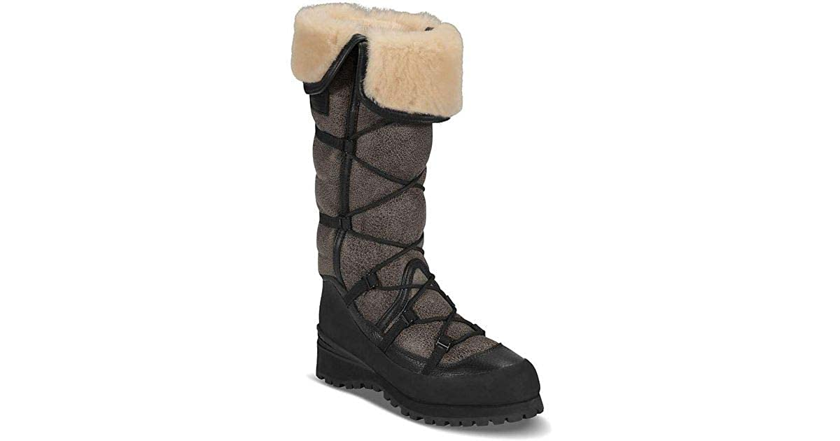 468dbf8c8 The North Face Women's Cryos Tall Handmade Sheepskin Hiking Fashion Black  Boots, Italy