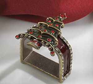 Christmas Tablescape Decor - Gorgeous jeweled enameled Christmas tree napkin rings - Set of 4