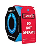 Accuform Signs TAR142 Tags By-The-Roll General Safety Tags, Legend ''DANGER DO NOT OPERATE'', 6.25'' Length x 3'' Width x 0.010'' Thickness, PF-Cardstock, Black/White on Red (Pack of 250)