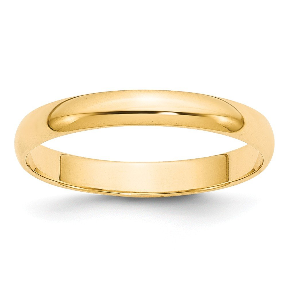 Solid 14k Yellow Gold 3 mm Rounded Wedding Band Ring