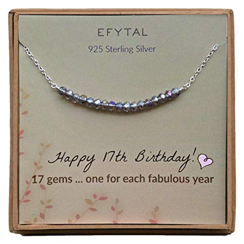 EFYTAL 17th Birthday Gifts for Girls, Sterling Silver Necklace, 17 Beads for 17 Year Old Girl, Jewelry Gift Idea