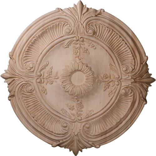 Lamp Acanthus (Ekena Millwork CMW16ACRO 16-Inch OD x 1 1/8-Inch P Carved Acanthus Leaf Wood Ceiling Medallion, Red Oak)