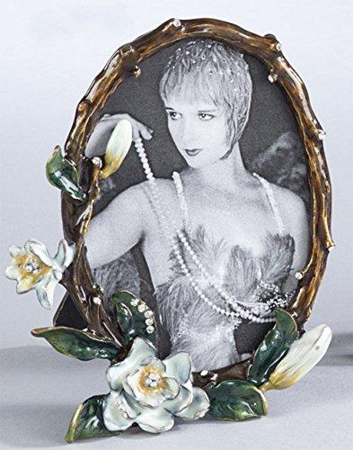 Fennco Styles Gorgeous Vintage Enamel Floral Crystal Photo Frame-3.5