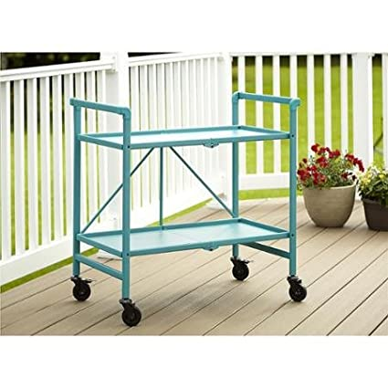 Teal Quick and Easy Cosco Folding Serving Cart Multiple Colors