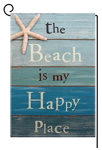 BLKWHT Beach is My Happy Place Garden Flag Vertical Double Sided Summer Decorative 12.5 x 18 Inch