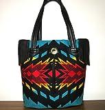 Tote Bag Bucket Bag Fringed Black Leather Blanket Wool from Pendleton Oregon