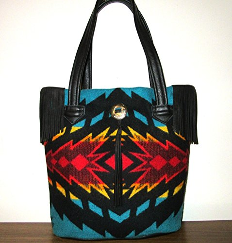 Tote Bag Bucket Bag Fringed Black Leather Blanket Wool from Pendleton Oregon by Timberlineltd