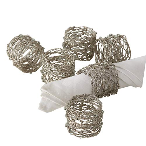 WHW Whole House Worlds Silver Smokey Gray Crystal Beaded Napkin Rings, Set of 6, Handcrafted, Fine Wire, Bugle and Seed Beads, Approximately 2 Inches Each, Drawstring Pouch Included