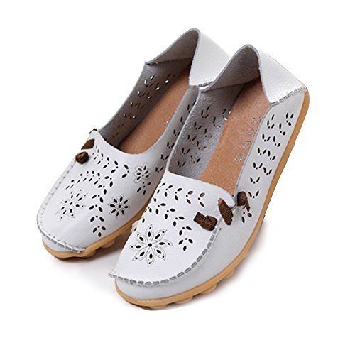 Blivener Mujeres Casual Loafers Hollow Zapatos Planos Summer Slippers Blanco