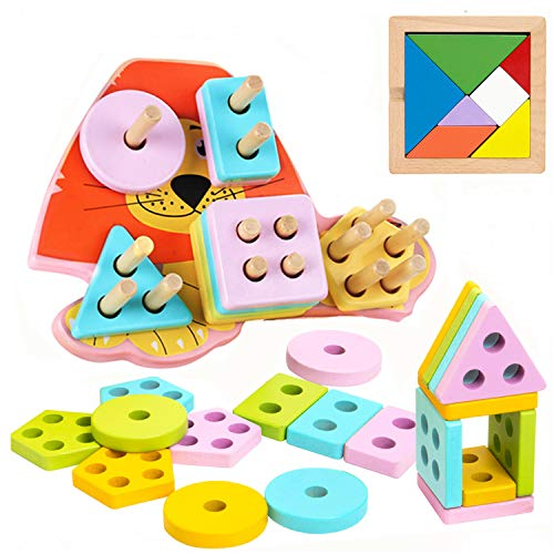 INNOCHEER Wooden Puzzle, Toddler Game, Shapes Sorter Preschool Geometric Blocks Stacking Games for 1 2 3 4-5 Year Old Kids
