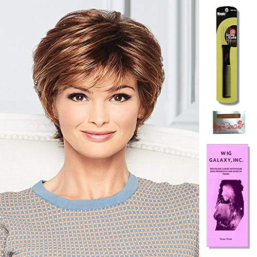 Soft Romance by Gabor Wigs, Wig Galaxy Hair Loss Booklet, Wig Cap & Magic Wig Styling Comb/Metal Pick Combo (Bundle - 3 Items) (Sugared Pewter (GL51-56))