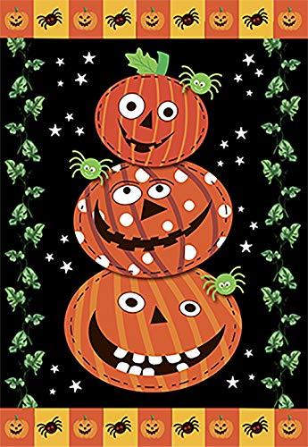 Claude Bart Scary Jack O' Stack Halloween Garden Flag Decorative Primitive Jack o'Lanterns Outdoor Yard Flag