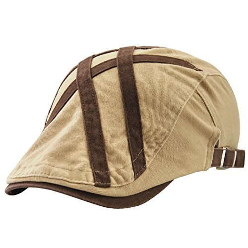 UNIQUEBELLA Adjustable Newsboy Cap Ivy Flat Hat Gatsby Golf Driver Beret Caps for Men & Women-02-06,Beige