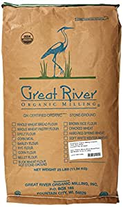 Great River Organic Milling, Organic Whole Wheat Bread Flour, 25-Pound Package