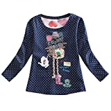Clothes for Toddler Baby Kids Girls Cartoon Dot Print Pullover Tops Clothes Holiday Outdoor Long Sleeve Blouse For Toddler Baby Kid Girl Infant Top Children Winrt Warm Tops T Shirt (Dark Blue, 5-6Y)