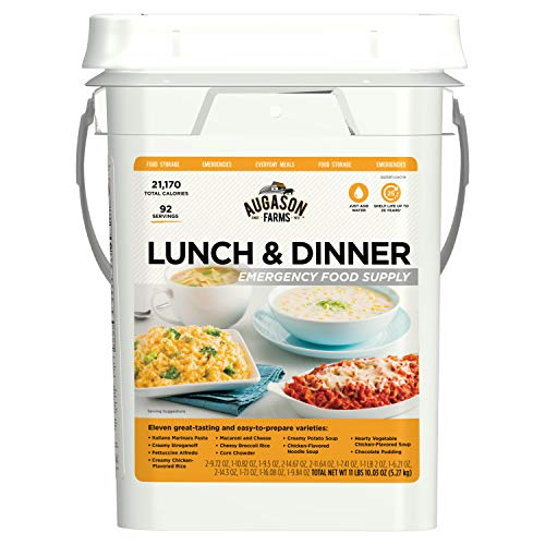 Augason Farms Lunch & Dinner Emergency Food Supply 11 lbs 11.2 oz 4 Gallon Pail (Best Foods For Disaster Preparedness)