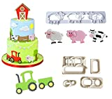 Farm Animal Cookie Cutter Set,Cartoon Tractor, Pig, Sheep, Cow Biscuit Mould,DIY Baking Cake Fondant Sugarcraft Pastry Cake Topper Decoration