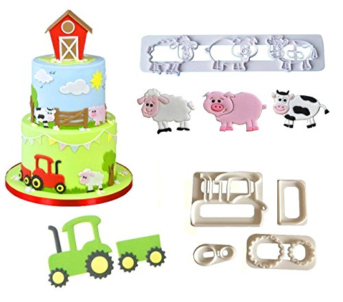 (Farm Animal Cookie Cutter Set,Cartoon Tractor, Pig, Sheep, Cow Biscuit Mould,DIY Baking Cake Fondant Sugarcraft Pastry Cake Topper Decoration)