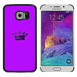 LECELL--Funda protectora / Cubierta / Piel For Samsung Galaxy S6 EDGE SM-G925 -- Crown Purple Minimalist Pen --