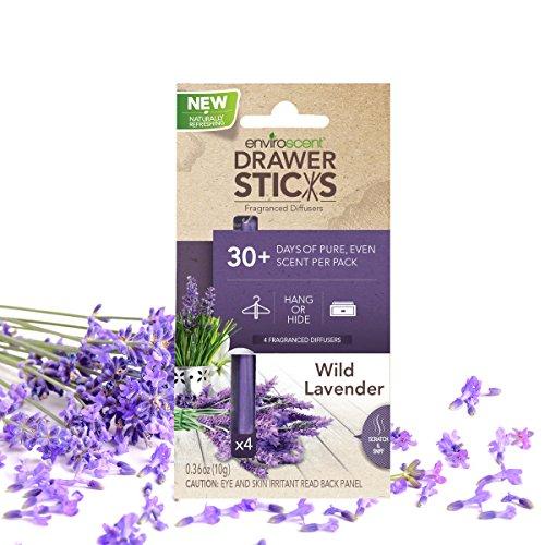 Enviroscent DrawerSticks Aroma Diffusers, Wild Lavender Fragrance, Box of 4