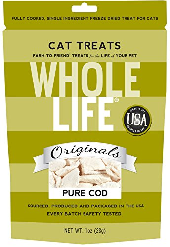 Whole Life Pet Single Ingredient USA Freeze Dried Cod Filet Treats for Cats, 1-Ounce