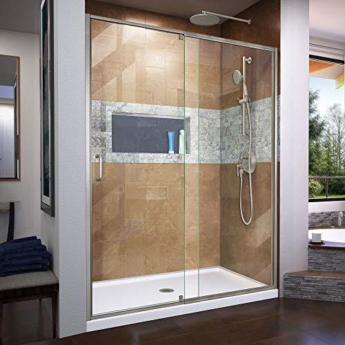 DreamLine Flex 56-60 in. W x 72 in. H Semi-Frameless Pivot Shower Door in Brushed Nickel, ()