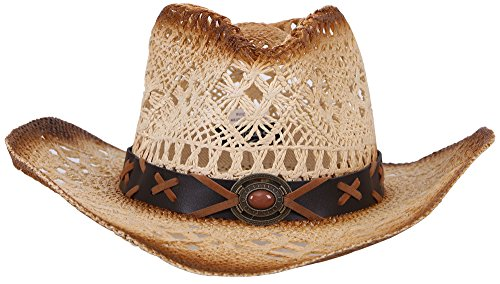 Women / Men's Summer Classic Western Cowboy Straw Hat (Natural)