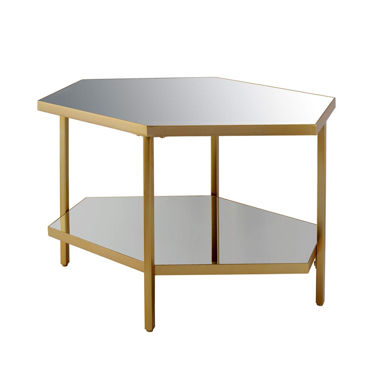 End Table Small Side Table End Table, Mirror Glass, Gold Metal, Save Space Corner Table for Bedroom&Living Room
