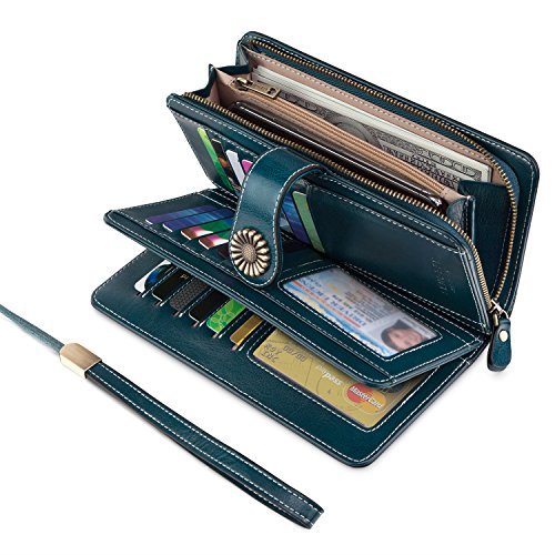 UMODE Vintage Style Genuine Leather Large Capacity Wallet Organizer for Women (Green Color) by UMODE