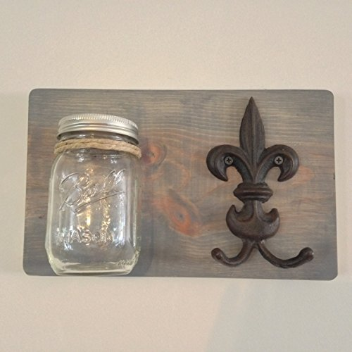 Rustic Handmade Weathered Gray Wooden Mason Jar Wall Sconce, Hanging Vase, Wall Planter with Fleur De Lis (Lis Sconce Vase)
