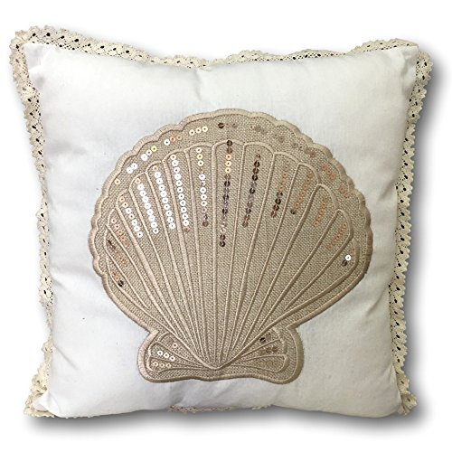 Sea Shell Pillow Cover - Banberry Designs Nautical Beach Cushion Cover - Seashell Design with Sequins - 14 3/4