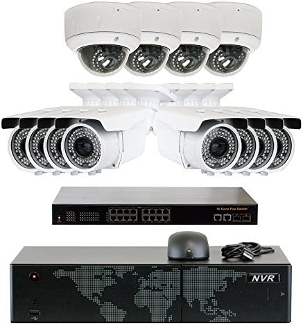 5MP 2592x1920p 16 Channel 4K NVR PoE IP Security Camera System – HD 5MP 1920p 2.8 12mm Varifocal Zoom 8 Bullet and 4 Dome IP Camera – 5 Megapixel 3,000,000 More Pixels Than 1080P