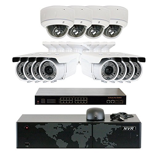 5MP (2592x1920p) 16 Channel 4K NVR PoE IP Security Camera System - HD 5MP 1920p 2.8~12mm Varifocal Zoom (8) Bullet and (4) Dome IP Camera - 5 Megapixel (3,000,000 more pixels than 1080P)