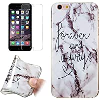 for iPhone 7/iPhone 8 Marble Case and Screen Protector,Unique Pattern Design Ultra Thin Slim Fit Soft Silicone Phone Case Bumper,QFFUN Shockproof Anti-Scratch Protective Back Cover - Words