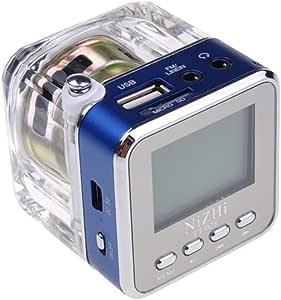 Mini Digital Portable Speaker Music Player Micro SD USB FM Radio (Blue)