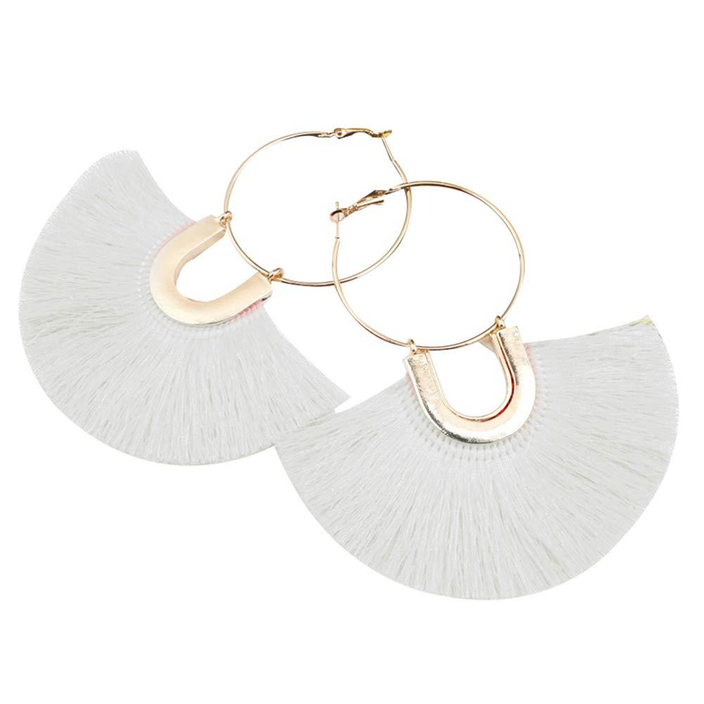 Circle Fan Shape Tassel Dangle Hoop Earrings Bohemian Women Statement Jewelry - White
