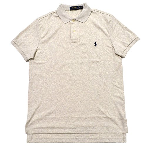 Rlaph Lauren Mens Interlock Medium Fit Polo Shirt (L, American Heather/Navy Pony) ()