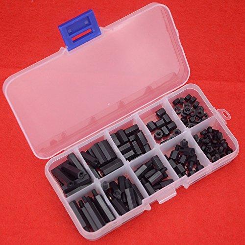 Hilitchi 120Pcs M3 Nylon Hex Spacers Screw Nut Standoff Plastic Accessories Assortment (Black) ()