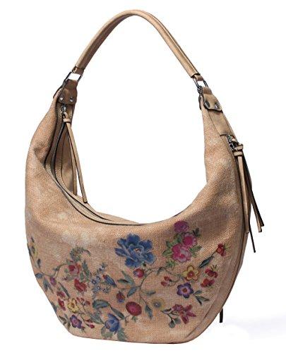Let It Be Women Handbags Large Designer Hobo Shoulder Bags Casual Tote Vintage Boho with Flowers Pattern - - Large Shopper Designer Purse