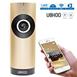 Mini Wireless Camera, UOKOO 185 Degree HD Surveillance IP/Network /WIFI Security Camera with Night Vision/Two Way Audio/Motion Alert 1101 (Gold) For Sale