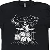 XXL - Kong Playing Drums Shirts Drum Set T Shirt Drummers Tshirt Animal Drumming Bang Hard Tee