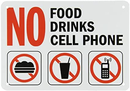 smartsign plastic sign legendno food no drinks no cell phone with graphic