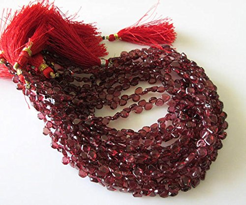 Natural Smooth Garnet Heart Shaped Briolette Beads, 10 inches of Tiny 4mm to - Garnet Mm Heart 6