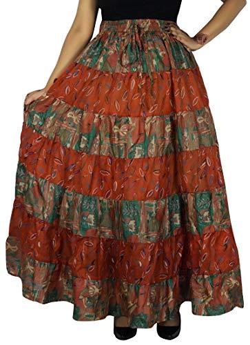 Sari Pure Jupe Vert Évasée Orange Longue Maxi Soie Turquoise Robe Craft Et Indianbeautifulart xTdwqYIT