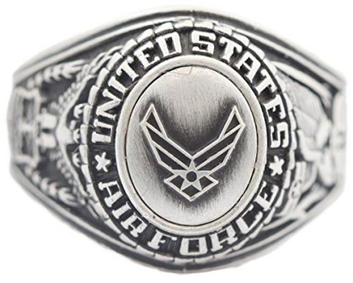 US-Air-Force-Insignia-Ring-Silver-Colored-Air-Force-Veteran-Ring-Military-Collectibles