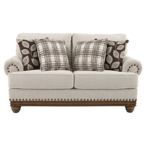 Signature Design by Ashley -Harleson Traditional Loveseat Vintage with Nailhead Trim, Wheat