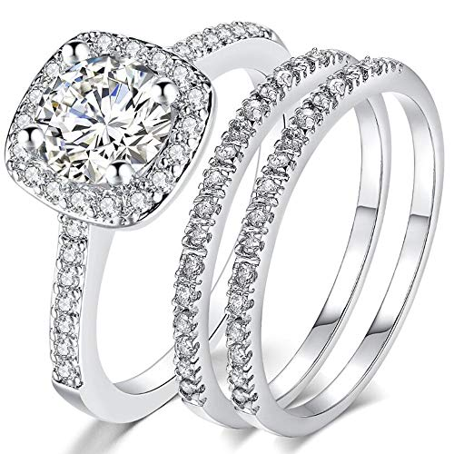 Jude Jewelers Silver Rose Gold Three-in-One Wedding Engagement Bridal Halo Ring Set (Silver, 7) Bridal Set Silver Ring