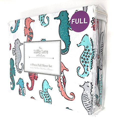 The Lilly love collection Colorful Seahorses 4-PC FULL Sheet Set by The Lilly love collection