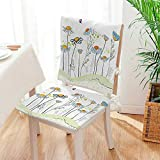Mikihome Beautiful Chair Cushion Gardening Theme Daisy in Romantic Design Light Yellow Indoor and Outdoor Cushion Mat:W17 x H17/Backrest:W17 x H36
